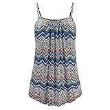 OSYARD Damen Sommer Printed Sleeveless Weste Bluse Tank Tops Camis Kleidung(EU 56/6XL, Blau)