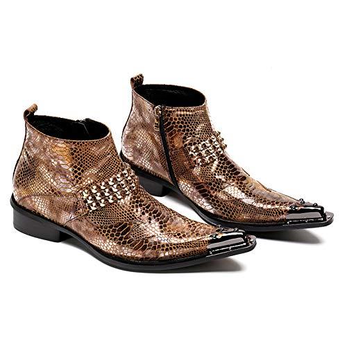 SHENMINJ Herrn Fashion Boots Leder Herbst/Herbst Winter Freizeit/Britisch Stiefel warm halten Booties/Stiefeletten Schwarz/Gold/Party & Festivität/Party & Festivität/Springerstiefel,45