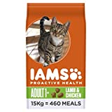 Iams Proactive Health Complete and Balanced Cat Food with New Zealand Lamb and Chicken, 15 kg