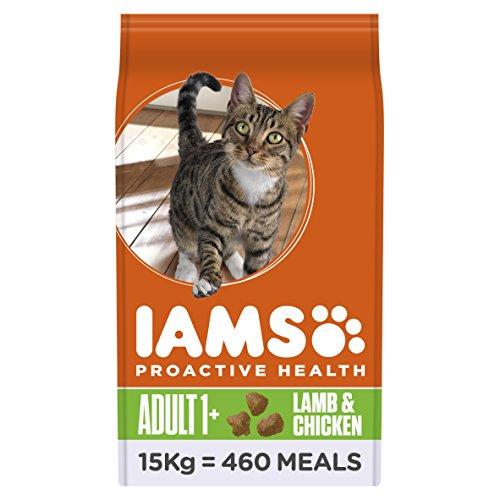 Iams Adult Trockenfutter mit Lamm (für erwachsene Katzen, enthält viel hochwertiges tierisches Protein), 15 kg Beutel
