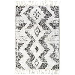 HK LIVING Alfombra de baño (Zigzag 75X110cm, Blanco y Negro
