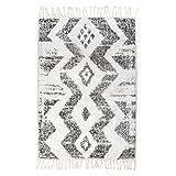 Badeteppich Zigzag 75 x110 cm, schwarz weiß, von HK Living