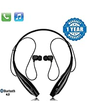 esportic HBS-730 Neckband Bluetooth Headphones Wireless Sport Stereo Headsets Handsfree with Microphone for Android, Apple Devices (Black)