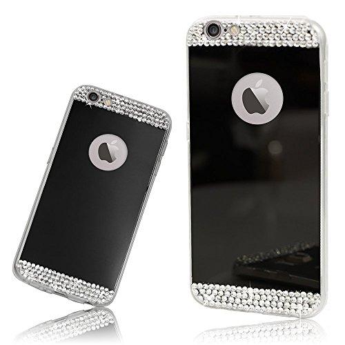 ubmsa-apple iPhone 5s 5g Fall, Luxus Kristall Diamant Spiegel Bling Soft TPU Silikon Case Back Cover für iPhone 5S 5G Fällen [Mädchen Fall]-Silber schwarz schwarz iphone 6plus/6splus 5.5