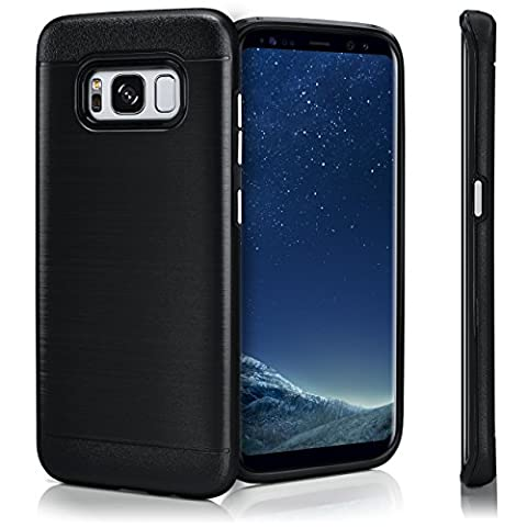 Evasion Case für Samsung Galaxy S8 | Dual Layer Handyhülle aus Silikon und TPU | Zubehör Cover zum Handy Schutz | Handyhülle Bumper Tasche gebürstet Aluminium Optik in Gloom