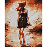 shukqueen DIY Ölgemälde, Erwachsene 's Malen nach Zahlen Kits, Acryl Gemälde Dance Girl 40,6x 50,8cm, Frameless,Just Canvas