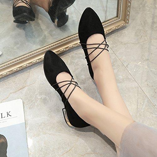 Lgk & fa estate sandali con tacco piatto fondo piatto scarpe da donna testa rotonda Black