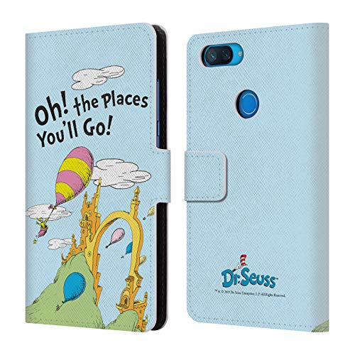 Head Case Designs Offizielle Dr. Seuss Titel Kunst 2 Oh, The Places You'll Go Leder Brieftaschen Huelle kompatibel mit Xiaomi Mi 8 Lite/Mi 8X (Dr Worte Seuss)