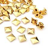 50 Set Gold Square Pyramid Spike Rivet Studs Spots Rock Punk 10mm