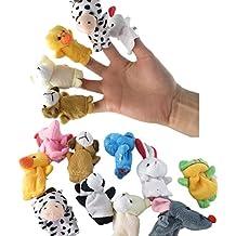 Marionettes a doigts en forme d'animaux. Lot de 10 types différents.