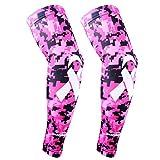 COOLOMG Arm Sleeves Armwärmer Ärmlinge Kompression Bandage Rutschfest Anti UV Running Radsport für Damen Herren (1 Paar Rosa XL)