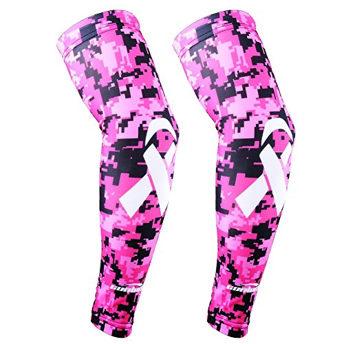 COOLOMG Arm Sleeves Armwärmer Ärmlinge Kompression Bandage Rutschfest Anti UV Running Radsport für Damen Herren (1 Paar Rosa M)