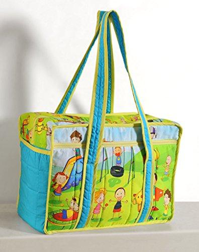 Yuga Trendy Digitaldruckwickeltasche für Mamas mit 3 Taschen Wasserdicht Innenstepp 12 x 16 x 8 Zoll Grün Und Blau