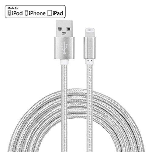 2m blitz apple sync & ladekabel apple zertifiziert, schnelle ladegerät, starke nylon gewebtes Blei für iPhone x / 8/7/7 plus 6 / 6s / 6 Plus / 5 / 5c / 5s se iPad Air 3 / iPad Pro - Silber (2.4 a) von YF