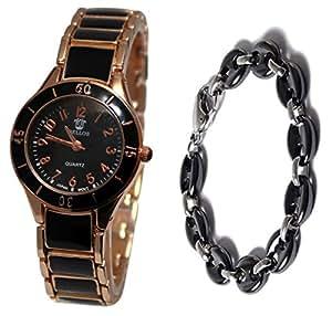 Pack montre femme ceramique doré rose + bracelet ceramique collection dolce vita