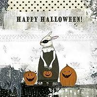 Feeling at home, Stampa artistica x cornice - quadro, fine art print, Coniglio felice Halloween cm 100x100