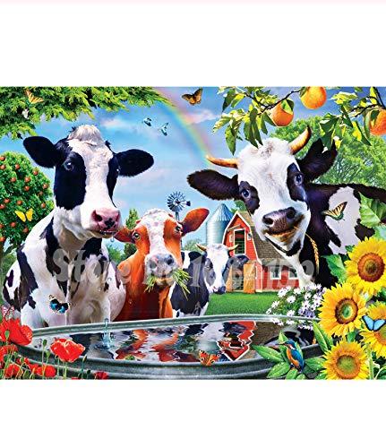 GUXUE Jigsaw, Puzzle in Legno 1000 Pezzi, per Bambini Kid Adulti Giocattoli educativi Bambino,Vacca da Latte Bere Acqua
