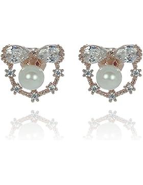 Idin Jewellery – Schleifen mit Perlenimitat, Rotgold-beschichtete Ohrclips