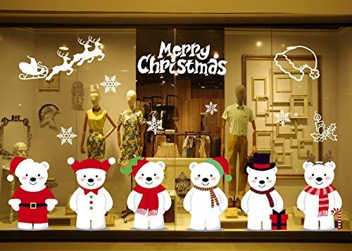 Decorazioni natalizie 6 adesivi natalizi simpatici adesivi con orsacchiotti vetro negozi caffetterie vetrine adesivi per la decorazione della casa