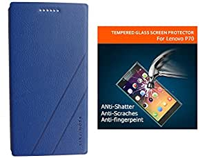 Yinjimosa Leather Flip Cover for LENOVO P70   Gold Finish PVC Case   Blue   With 9H 2.5D Tempered Glass Screen Protector