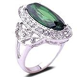 Yazilind Jahrgang-Rundschnitt-Grün Zirkonia Kristall vergoldet 16,5 Ring-Frauen