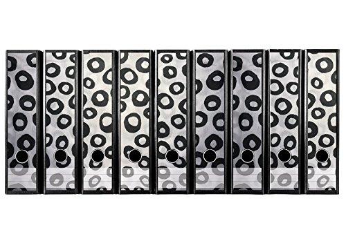 codiarts Set 9pezzi larghezza Etichette per raccoglitori artistico–Pennello cerchi nero bianco–autoadesivo (raccoglitori di Sticker)