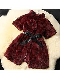 Bellerfur Real de conejo largos abrigos de pieles para las mujeres con la correa de la PU Negro