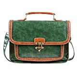 ECOSUSI Womens Retro Faux Leather Satchel Green