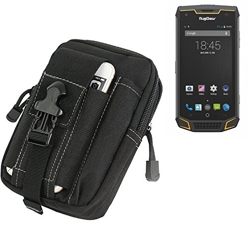 K-S-Trade Gürtel Tasche für Ruggear RG740 Gürteltasche Schutzhülle Handy Hülle Smartphone Outdoor Handyhülle schwarz Zusatzfächer