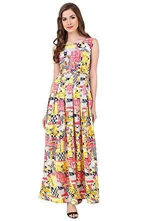 Binny Creation for Women's Yellow Crepe Tunic (Maxi gown )