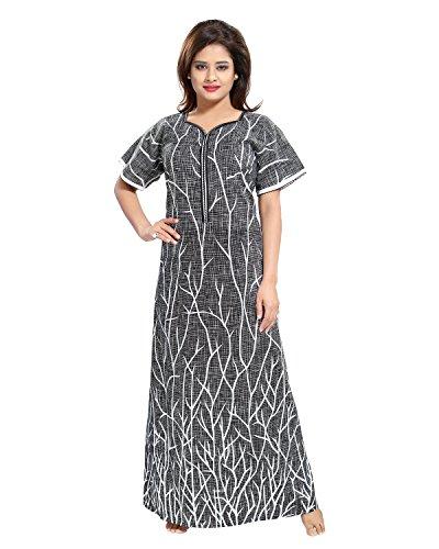 Tucute Cotton Nighty / Night gown / Nightwear / Nightdress Branches Print with 16\