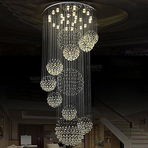 Lustres en cristal LED Light Duplex Spirale Escalier Luminaires en suspension Luminaires , D