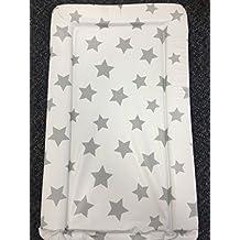 Cambiador para bebé unisex impermeable con bordes levantados, blanco con estrellas grises