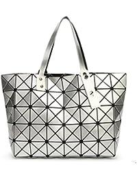 e3a6ac27aa60e Lalang Frauen Folding Stil Geometrische Diamant Beutel Schulter Beutel  Messenger Handtasche Large Bag (Silber)