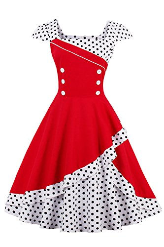 Damen 50er Jahre Vintage Rockabilly Kleid Pin up Cocktailkleid Polka Dots Partykleid Knielang- Gr....