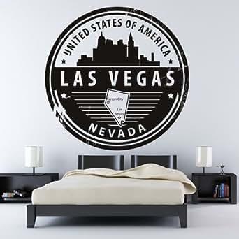 Las vegas etats-unis d amerique badge art mural stickers 01 - 50cm Hauteur - 50cm Largeur - noir vinyle