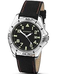 Sekonda Hombres de negro y verde Dial Negro Correa de nailon reloj 1135