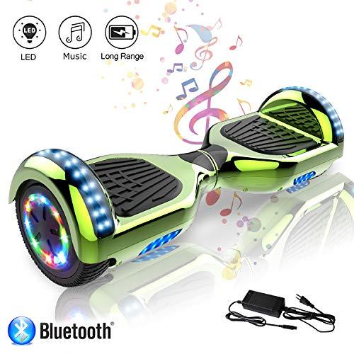 COLORWAY Hoverboard Flash-Rad Balance Elektro Scooter Roller EU Sicherheitsstandard, mit Bluetooth Lautsprecher und LED-Lichter (LED grün)