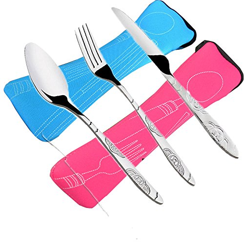 6 PCS Flatware Sets Knifes, Forks, Spoons, 2 Pack Lightweight Stainless Steel Tableware Dinnerware with Carrying Case Perfect for Traveling Camping Picnic Working Hiking Home.