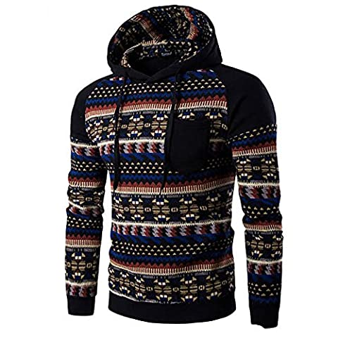 Tonsee Sweatshirt à capuche Homme Retro long Automne Hiver Sweatshirt Tops Veste Manteau Outwear (L, Noir)