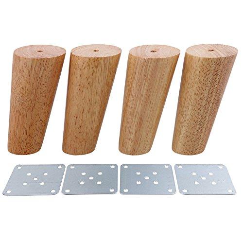 BQLZR 12cm Altura Madera Color Oblicuo Cónico Confiable Muebles de madera Armarios Patas Sofá Pies Paquete de 4