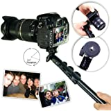 First2savvv ZP-188A01 black Self-portrait extendable telescopic handheld Pole Arm monopod Camcorder/Camera/mobile phone tripod mount adapter bundle for Nikon D3200 Panasonic Lumix DMC-FZ72 SONY DSC-HX300 DSC-H200 & CASIO EX-FH20 EXILIM EX-FH25 & OLYMPUS E450 E-M5 E-M1 & FUJIFILM FinePix HS30 EXR FinePix S6800 FinePix S4800 FinePix S8400W & Panasonic Lumix & Samsung NX11 NX20