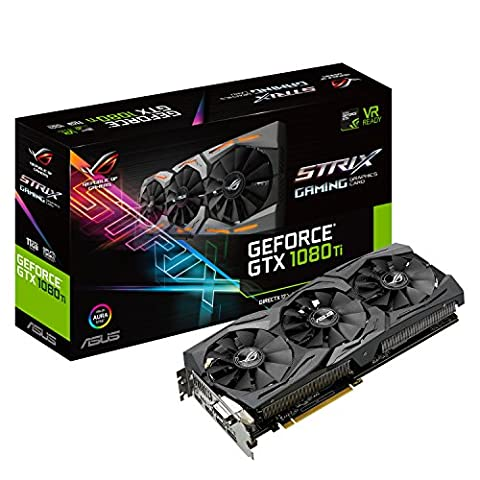 Asus ROG Strix GeForce GTX1080Ti-11GB Gaming Grafikkarte (Nvidia, PCIe 3.0, 11GB GDDR5X Speicher, HDMI, DVI,