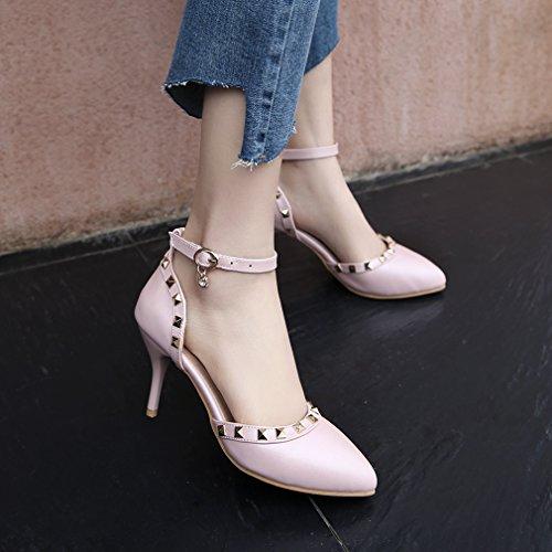 YE Damen Knöchelriemchen Stiletto Spitz Zehen High Heel Pumps mit Nieten und 8cm Absatz Elegant Pumps Schuhe Rosa