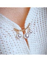 TT Pantalones de babero fijos antideslizantes curvados perlas colgantes broche de clip de moda anti-luz perla femenina corsage,Perla de oro,1