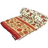 Stole & Yarn Maroon Round Flower Double Bed Soft Indian Quilt Jaipuri Razai Blanket Cotton Rajai Light Weight Blanket Printed Dohar Comforter