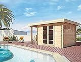 Gartenhaus AC - 28 mm Blockbohlenhaus, Grundfläche: 8,88 m², Flachdach mit Schleppdach