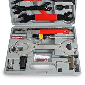 TecTake 44 Piezas Herramientas Multifuncional de Reparación para Bicicleta con Caja Compacta