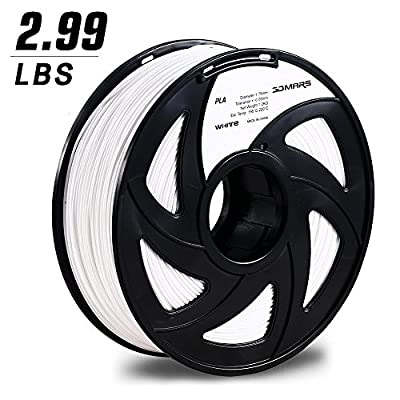 3D Printing Filament, 3DMARS 1.75mm PLA 3D Printer Filament, 2.99LBS Spool,Dimensional Accuracy +/- 0.05mm,White