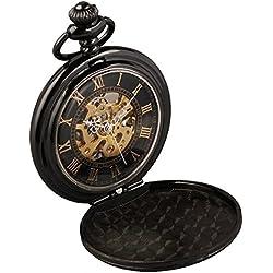 Alienwork Retro Handaufzug mechanische Taschenuhr Uhr schwarz Metall W891-10